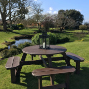 "Large 2m ""Round"" Picnic Table: £450.00 (Brown or Black) [Price ex VAT] - Lantern not included"