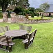 "The New ""Hengistbury"" 2.35m Circular Picnic Table with Curved Seats & Backs: from £650.00 (Brown or Black) [Price ex VAT]"
